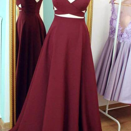 Burgundy Charming Prom Dress,Long P..