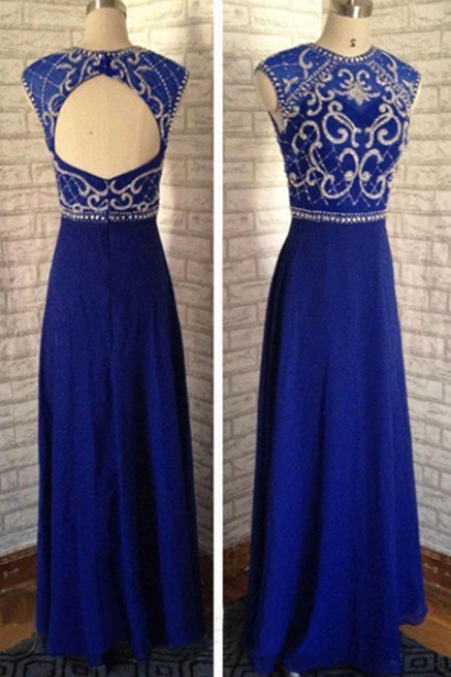 Royal Blue Beading Prom Dress,Long Prom Dresses,Cheap Prom Dresses,Evening Dress Prom Gowns, Custom Made Formal Women Dress,prom dress,F34
