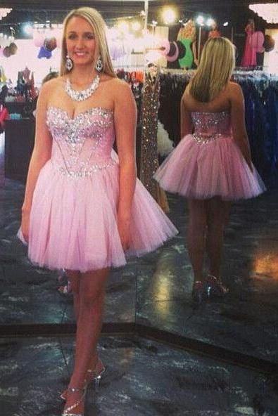 Sweetheart Pink Beading Homecoming Dress,Sexy Party Dress,Charming Homecoming Dress,Cheap Homecoming Dress,Homecoming Dress,H12