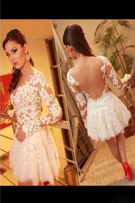 Long Sleeve Lace Homecoming Dress,Sexy Party Dress,Charming Homecoming Dress,Cheap Homecoming Dress,Homecoming Dress,H20