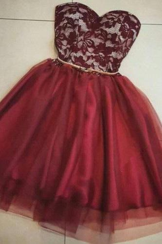 Burgundy Lace Homecoming Dress,Sexy Party Dress,Charming Homecoming Dress,Cheap Homecoming Dress,Homecoming Dress,H30