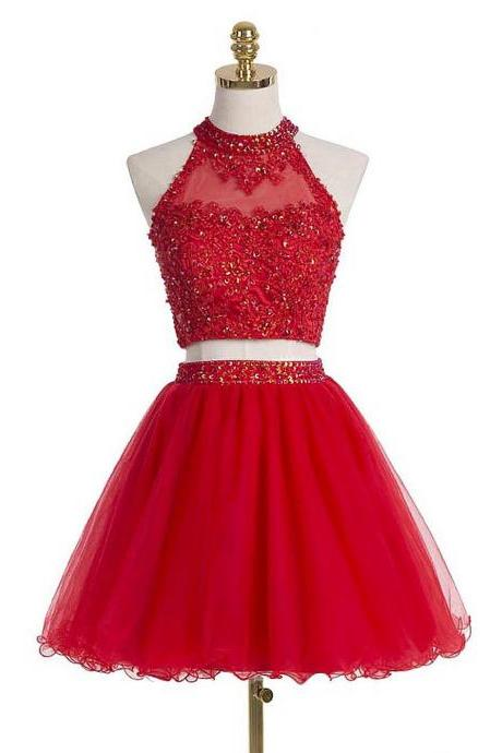 Red Two Pieces Homecoming Dress,Sexy Party Dress,Charming Homecoming Dress,Cheap Homecoming Dress,Homecoming Dress,H33