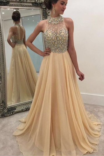 Beading champagne Prom Dress,Long Prom Dresses,Cheap Prom Dresses,Evening Dress Prom Gowns, Formal Women Dress,prom dress,F73