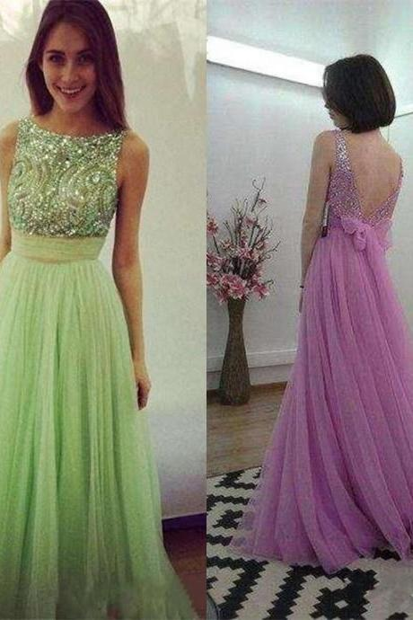 Backless Sexy Tulle Prom Dress,Long Prom Dresses,Charming Prom Dresses,Evening Dress Prom Gowns, Formal Women Dress,prom dress,F129