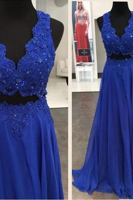 Two Pieces Beading Prom Dress,Long Prom Dresses,Charming Prom Dresses,Evening Dress, Prom Gowns, Formal Women Dress,prom dress,F224