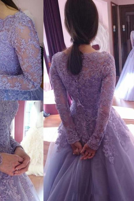 Long Sleeve Lace Prom Dress,Long Prom Dresses,Prom Dresses,Evening Dress, Prom Gowns, Formal Women Dress,prom dress,F334