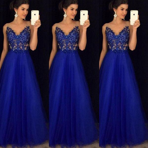 Royal Blue Appliques Sexy Prom Dress,Long Evening Dress,Evening Dress,Sweet 16 Dress,Long Prom Dresses,Prom Dresses Z347